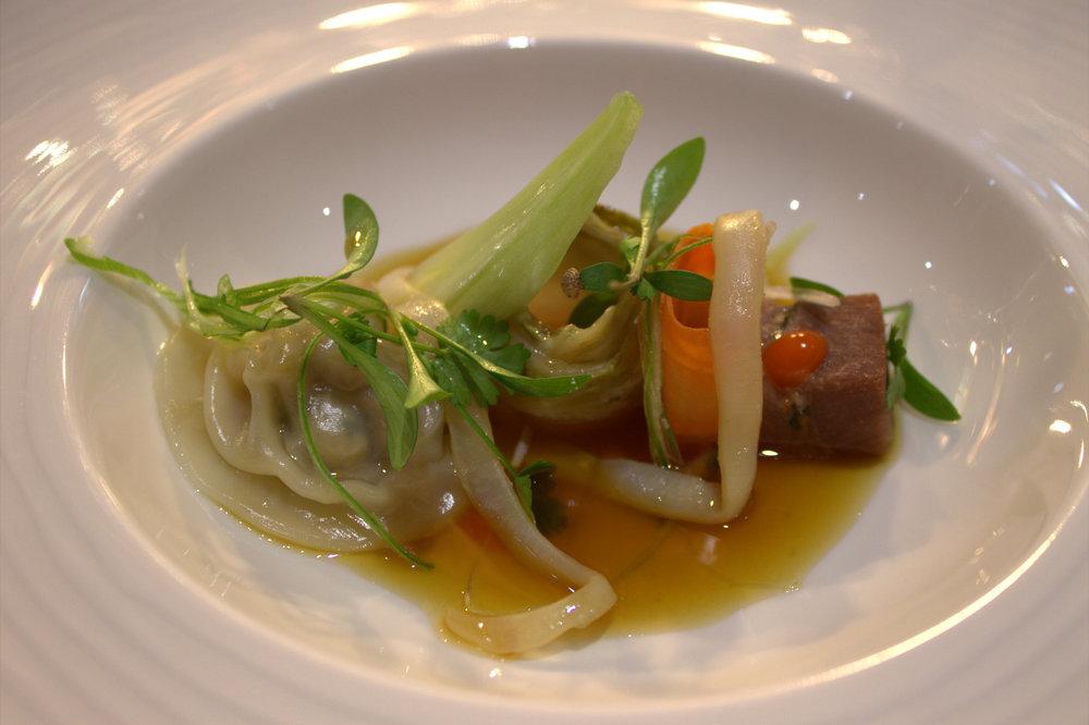 pork gyoza, pork and squid noodles, tom yum