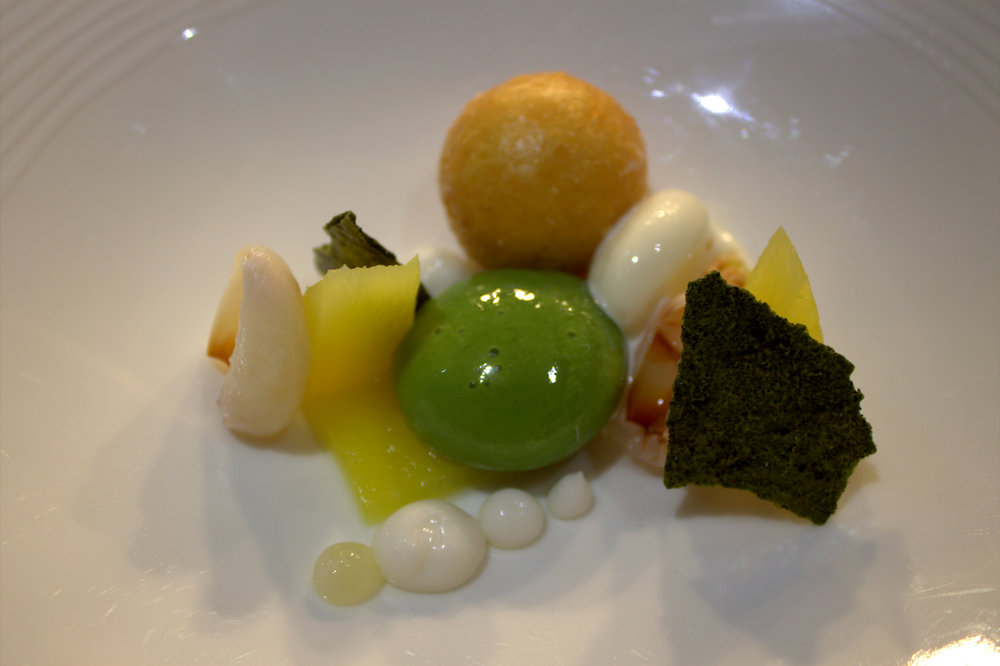 Thai Green Curry dessert with Spiced Pineapple, Coconut and Lime