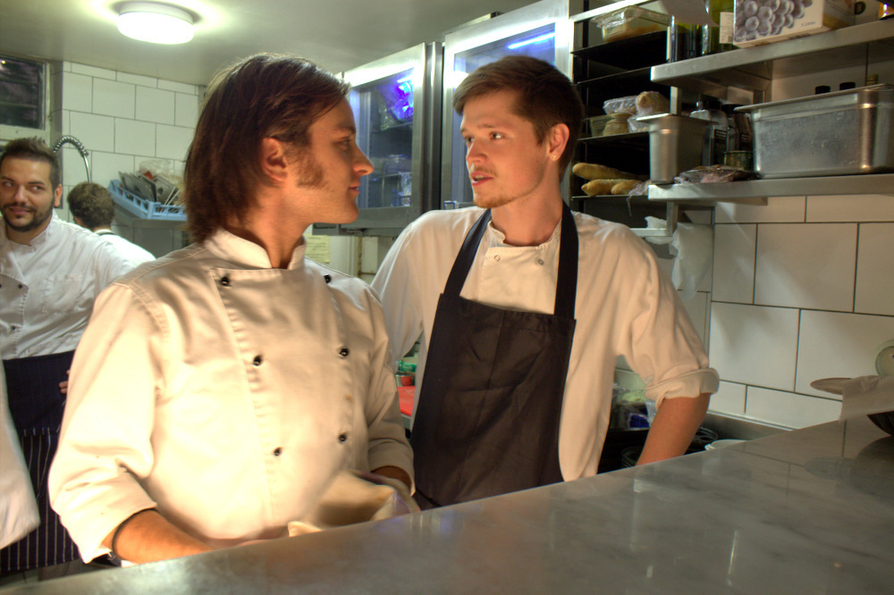 The stagiaire with Gabriel, the head chef