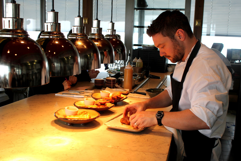 Dan Doherty with his signiture dish, duck and waffle