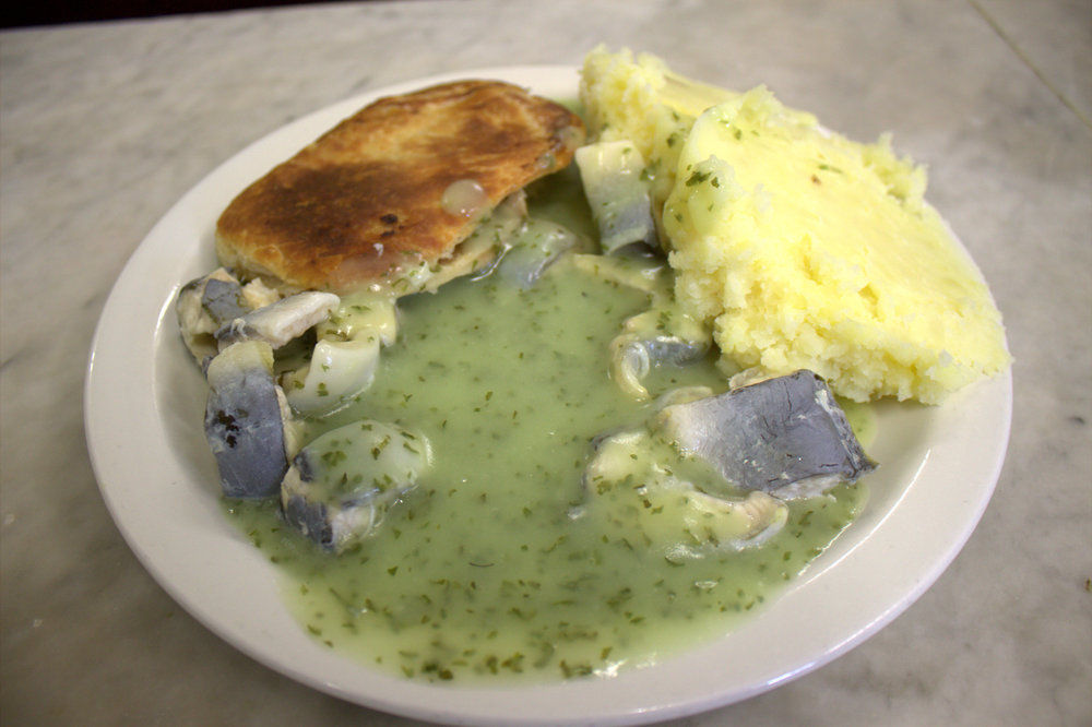 eel, pie and mash at M. Manze, london's oldest pie and mash shop