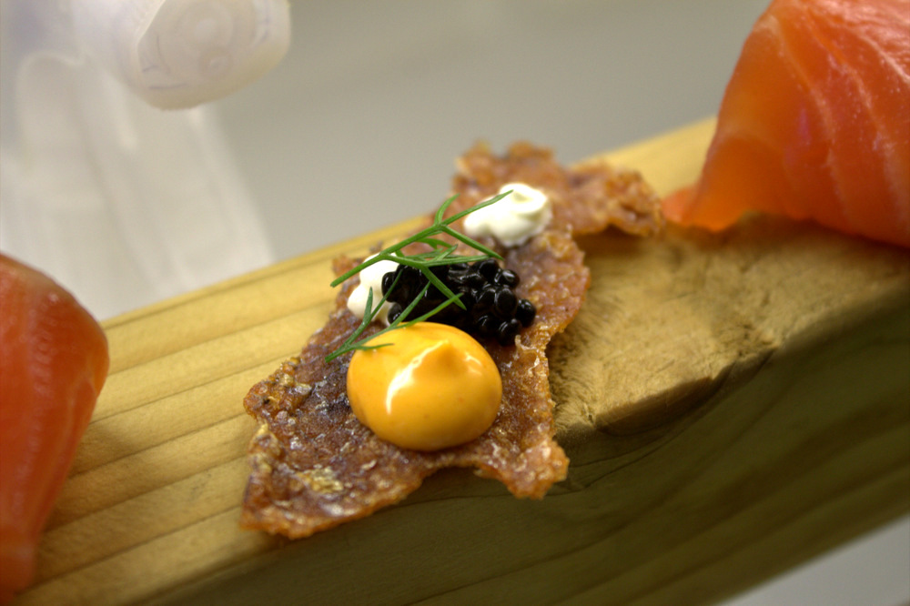 'Back Door' Smoked Salmon on a Plank, Crispy Skin & Salmon Caviar