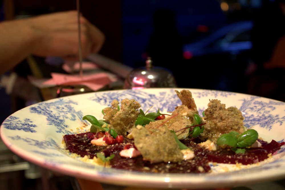 Beetroot Carpaccio with Burnt Goat's Cheese, Hazelnuts and a Date and Honey Syrup