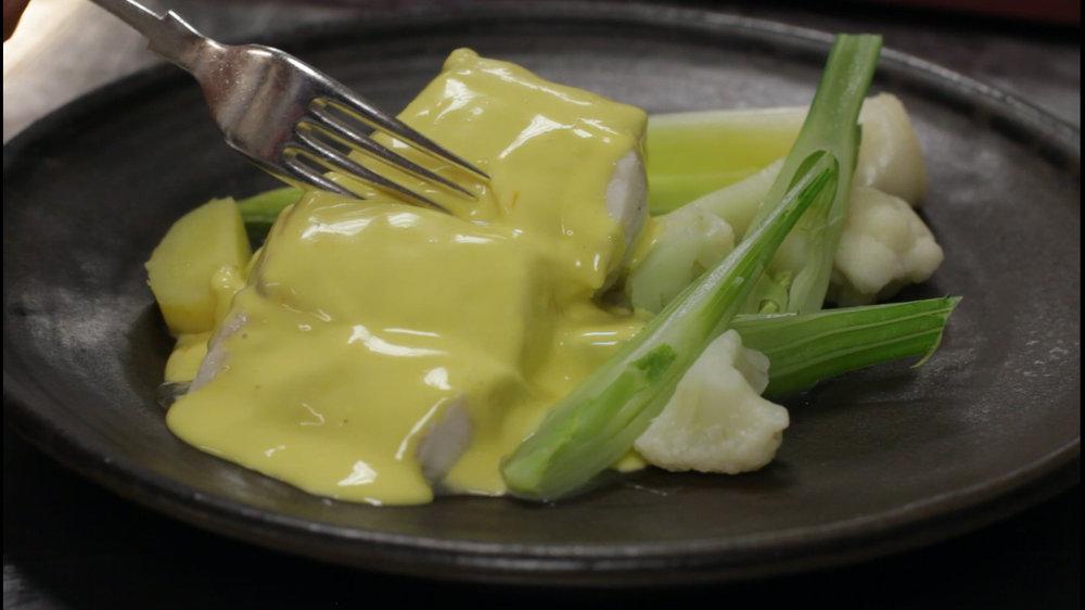 aioli of skrei cod, blanched vegetables, garlic mayonnaise