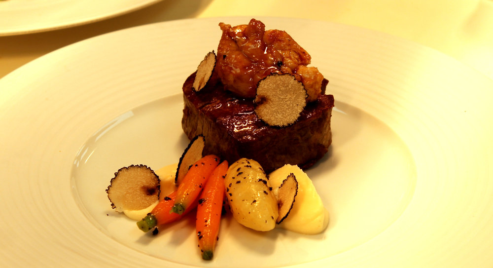 one of the many exquisite dishes at the ritz restaurant