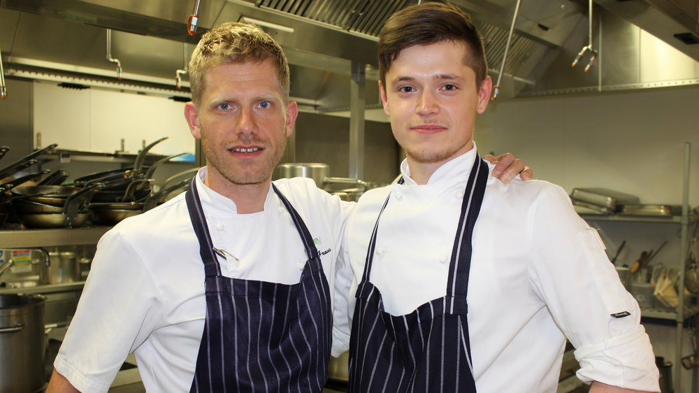 hayden groves, executive chef at baxterstorey, with the stagiaire (right)