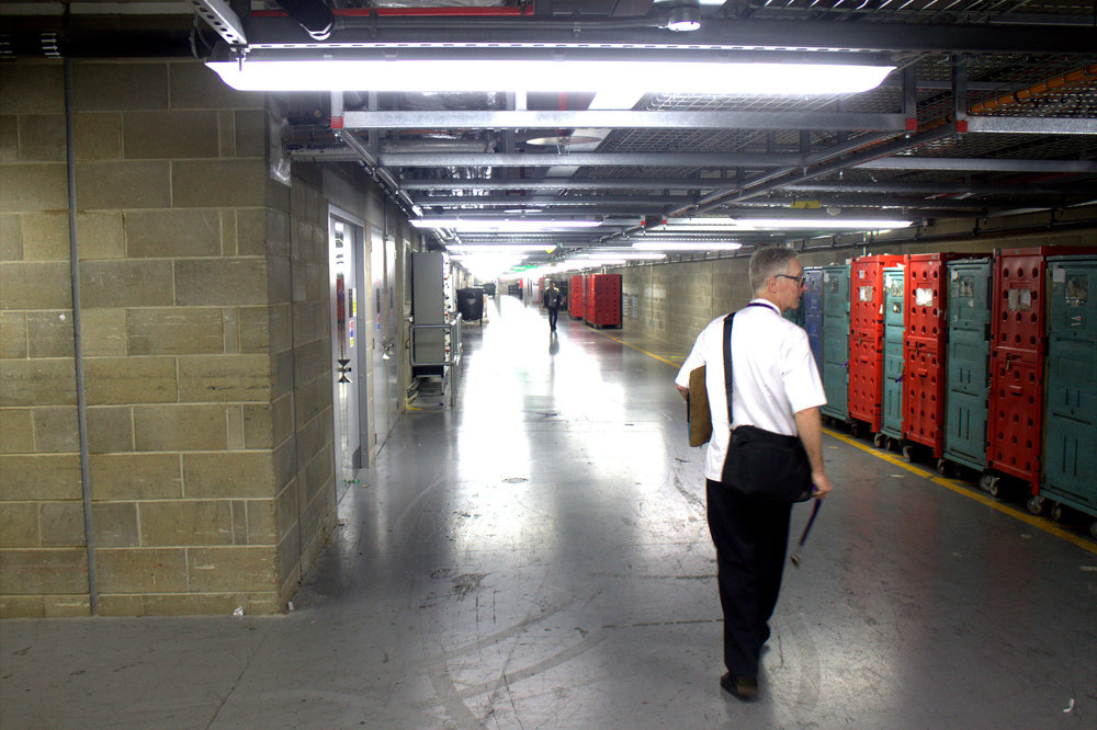 julian O'neil, the head chef, takes us through the airport catacombs