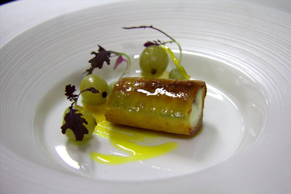 MACKEREL, GOOSEBERRIES, LEMON, CUSTARD - ONE OF KENNY ATKINSON'S DISHES AT HOUSE OF TIDES