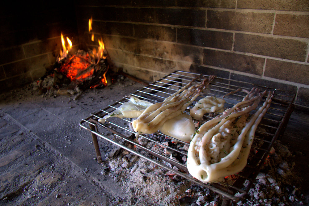 SQUID IN THE WOOD FIRE OVEN