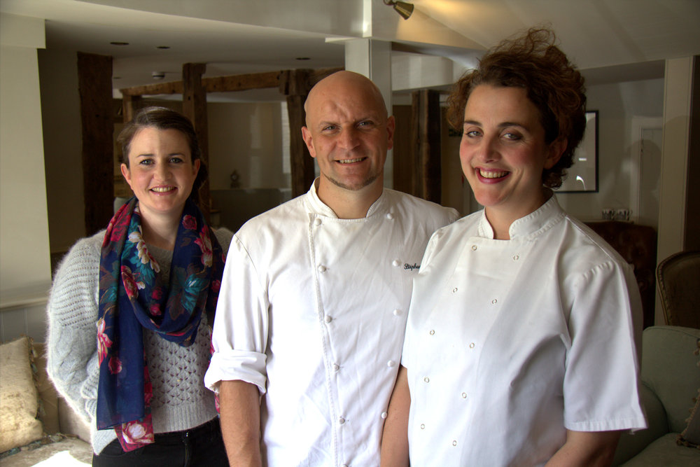 Stéphane Borie, chef and owner of The Checkers Inn, with his wife Sarah and her sister Katheryn