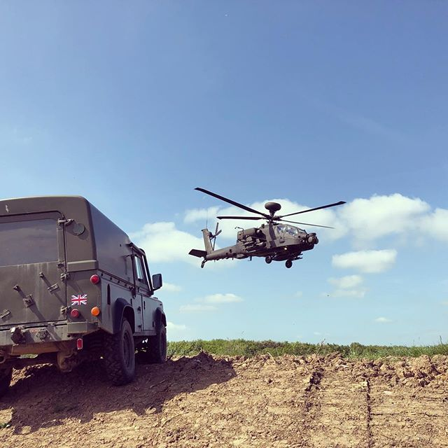 When the Army wanted the photo as much as you did #apache #landrover #helicopter #offroad #morpeth #northumberland #xperience #gift #driving #mud #sky #flying #aviation #business