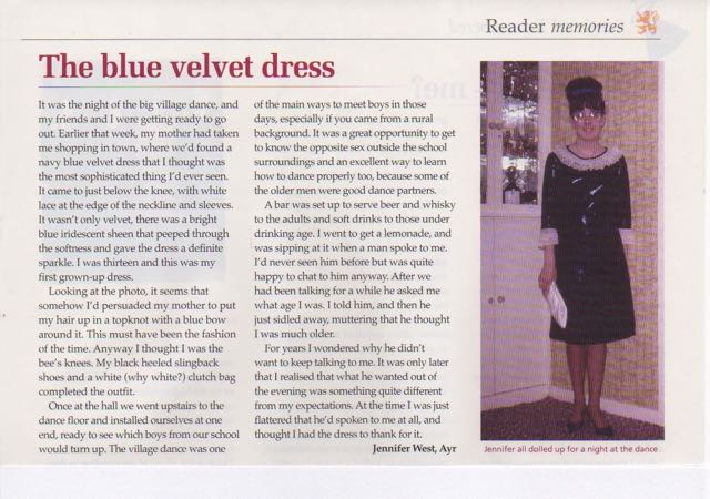 The blue velvet dress from Scottish Memories