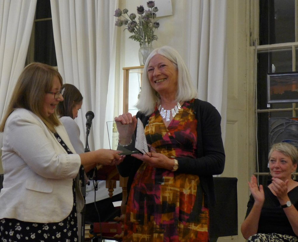 Christina read/performed her story 'Full Circle' and received her trophy and £500 award from Edinburgh International Flash Fiction judge  Sandra Ireland .