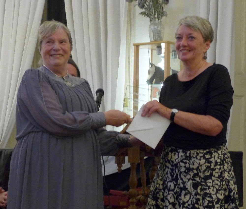 Mary received her £500 cheque and trophy from Scottish Arts Club President, Marilyn Jeffcoat