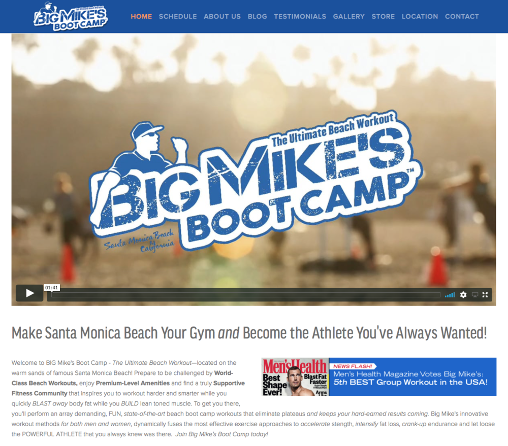 Big Mike's Boot Camp SuareSpace design - Became #1 Boot Camp in Santa Monica!