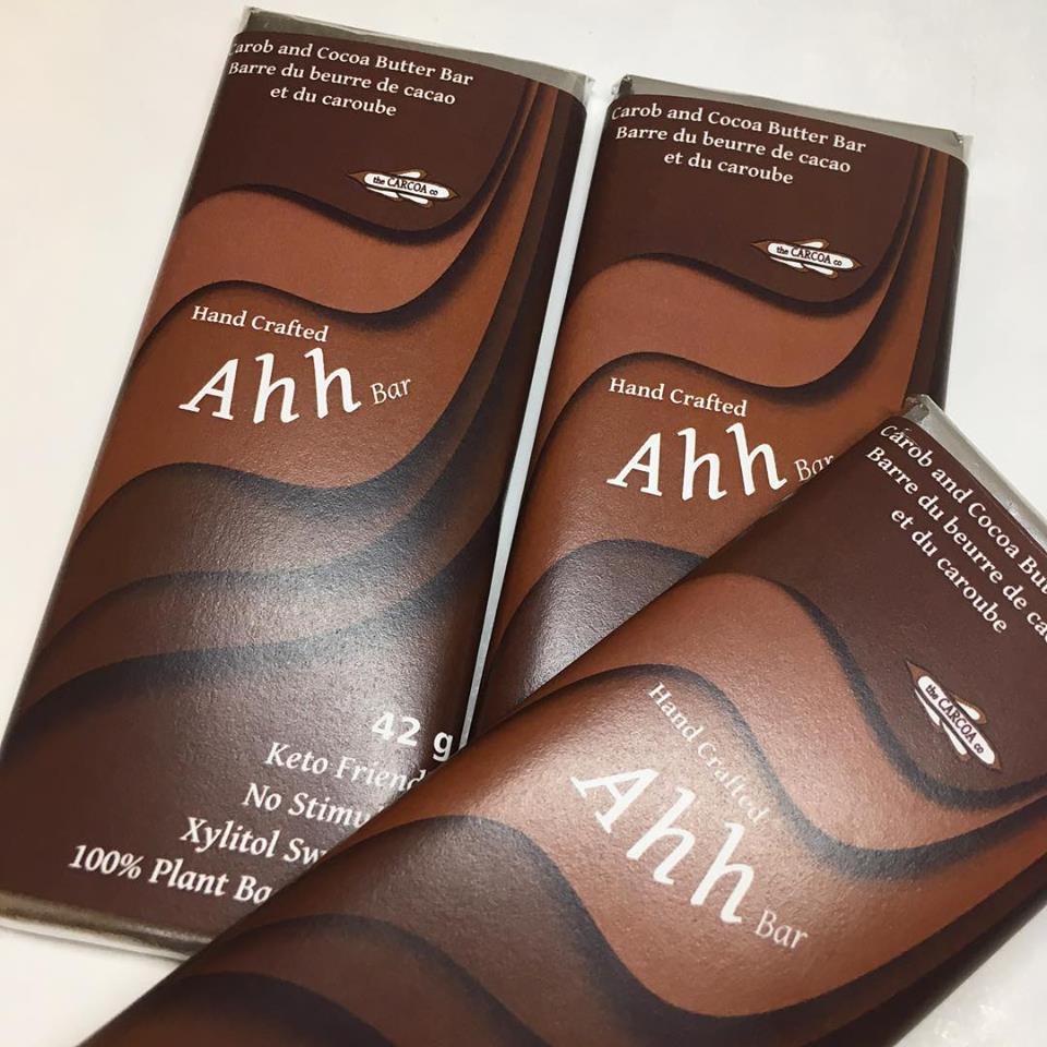 Original dark carob and cocoa butterAhh bar.