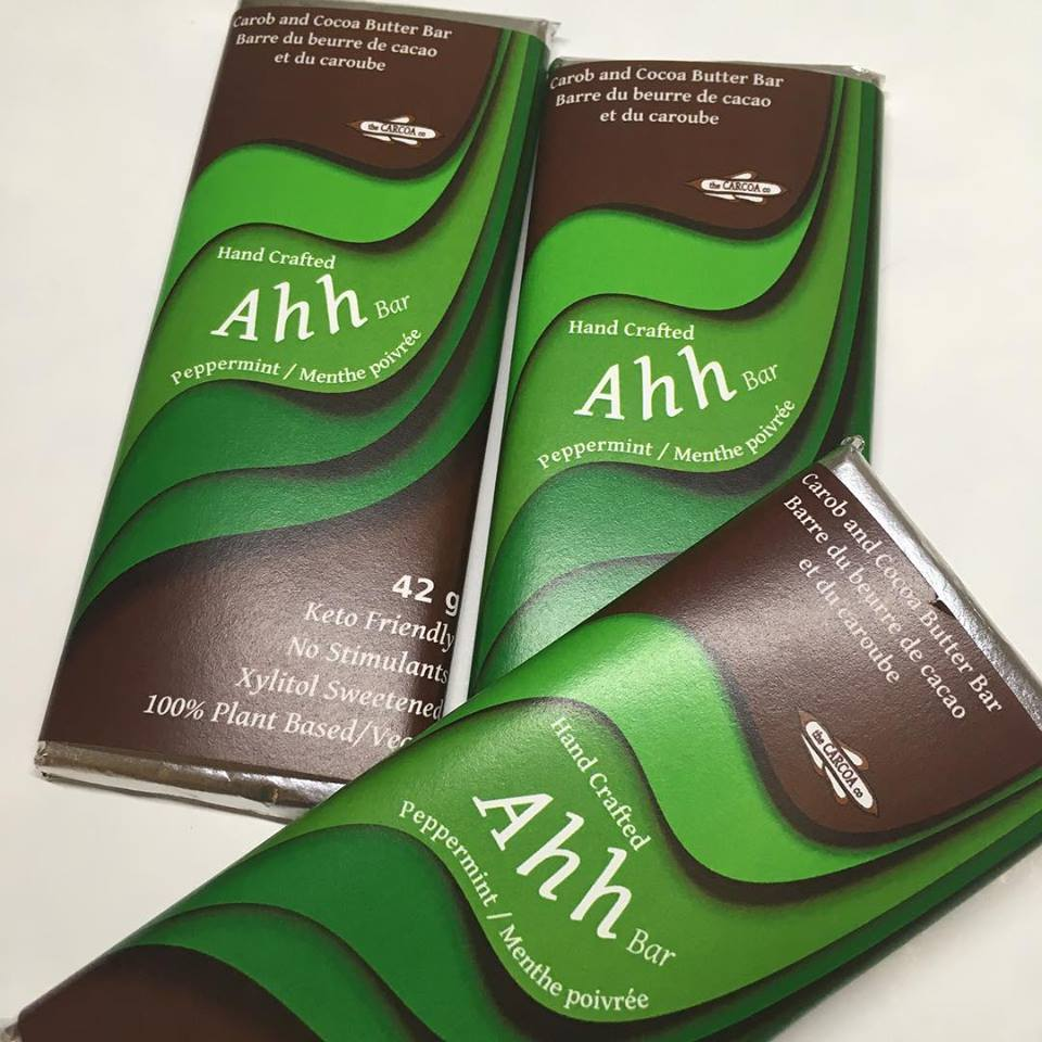Dark carob and cocoa butterAhh bar with peppermint.