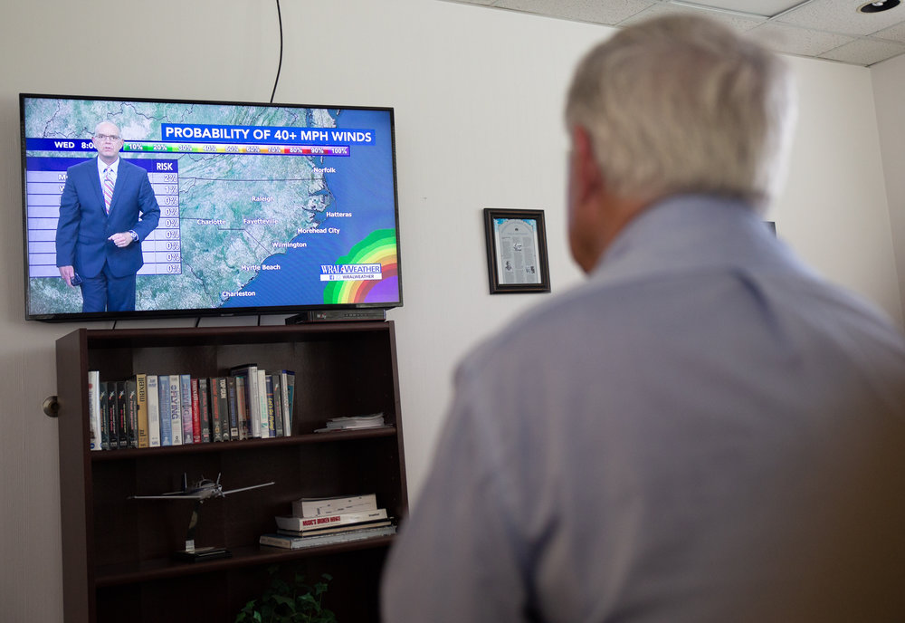 "On Thursday, Sept. 13, Watson warily watches the weather forecast as Hurricane Florence is predicted to hit the N.C. coast hard.   ""I'll likely have to cancel my students for the next couple days,"" he says. ""Also have to make sure all the planes are tied down or put in the hangar."""