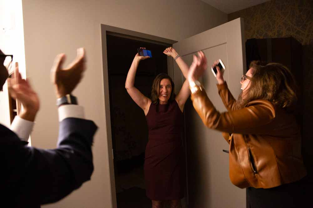 "After Justice Barbara Jackson, Earls' leading opponent called her and conceded, Earls, Caroline Spencer, and José Morales scream in celebration in their hotel ""war room"" in Raleigh, N.C.  ""This is a moment I will never forget,"" says Caroline Spencer, Earls' campaign manager."