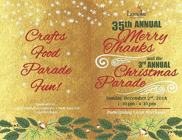 THIS SUNDAY! December 2 1:30 - 4:30 35TH ANNUAL MERRY THANKS in beautiful #DowntownLonoke! 5:00 pm 3RD ANNUAL LONOKE CHRISTMAS PARADE presented by Wade Knox Child Advocacy Center Our beloved traditions return and YOU are invited to spend this Christmas in Lonoke! #LoveLonoke #BelieveInLonoke