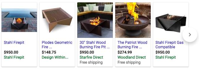 Stahl Firepit in Google Shopping