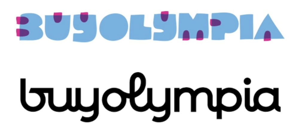 Independent art retailer  Buyolympia 's previous logo (above) and current logo (below) by  Fort Wick