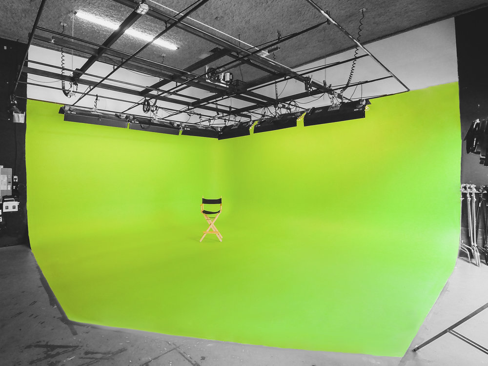 The studio at Originator features green screen capabilities.