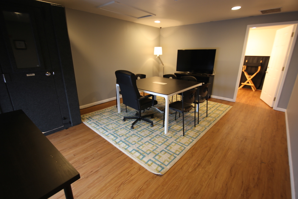 The green room at Originator Studios also serves as a conference room.