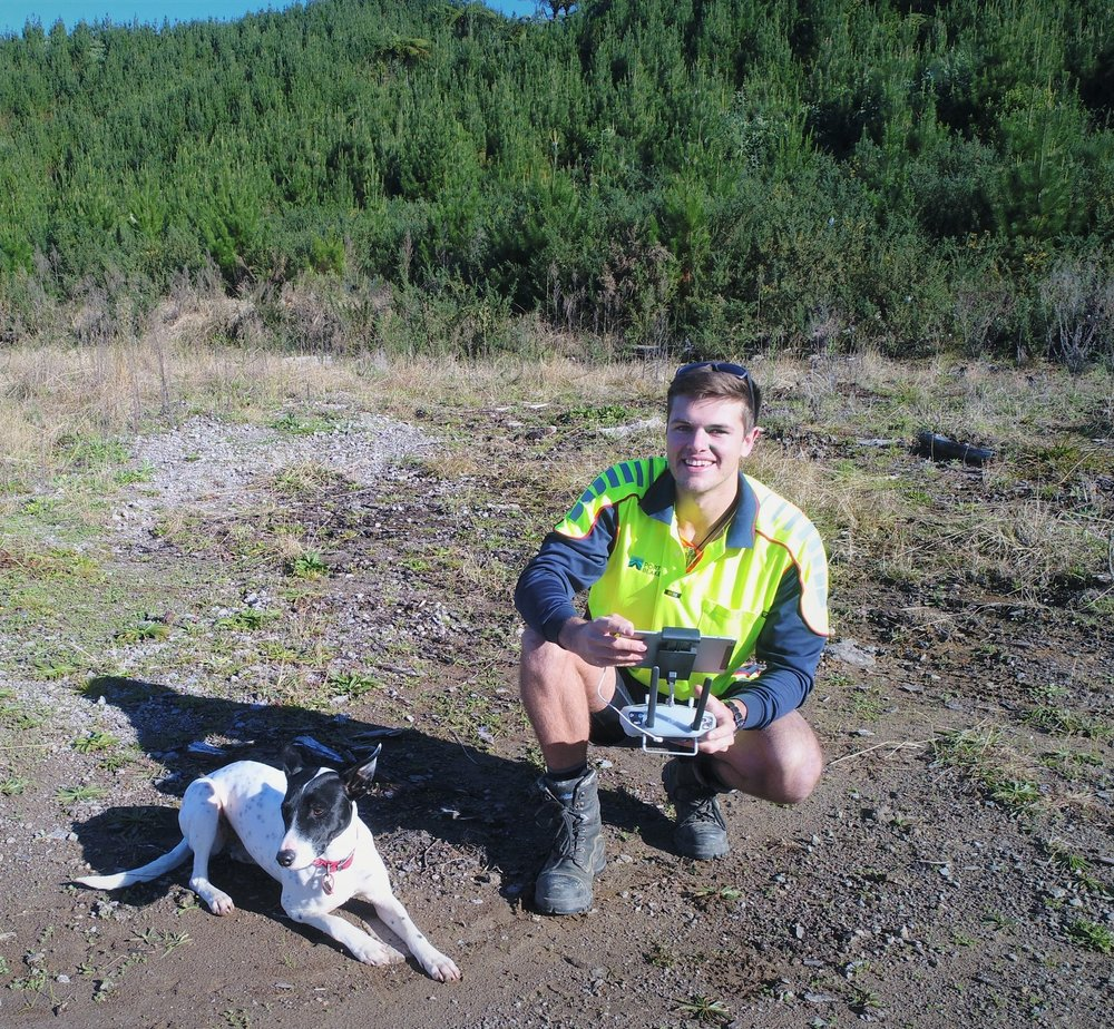 Alfred Duval   Regional Forester  Alfred is a smiling environmental warrior who passionately talks about life and its ups and downs and loves a challenge. From an urban background in Christchurch comes an early to mid-late twenties man who is set on trying to change the modern face of forestry (along with his dog and trusty sidekick – Luna). He wants to challenge what is perceived as a day to day work environment from that boring old nine to five, dispassionate thing you do to sustain your weekend. To where each day evokes a passion to create positive change and a desire to be part of the new age of forestry thinking combining environmentalism with business in true sustainability.  Alfred got into forestry because he is an environmentalist, but also because he realised forestry combines this with the ability to learn business and have a career from loving trees. This ability to promote trees, manage landscapes, influence change, and make bank made it an easy career choice.  A day to day schedule for Alfredo starts with a trip across Tauranga Harbour to Matakana Island, followed by a walk and measurement of thriving radiata, popping by some scientific trials and flying his company drone to map or video environmental coastal and native areas. On the next day he might be off to Rotorua to chat with local experts in plant health or get advice on how to perform the best pest control and create bird habitat corridors, whilst stopping by at another forest for a look at some silvicultural tending operations (and potentially a cheeky coffee meeting at the wholefoods café en route).  Always up for a chat, a chinwag, and a good old convo be sure to stop and say gidday if you ever see him on the streets. Be aware he's a busy man, but boy will you leave feeling like you've accomplished something without actually ever talking about anything important.