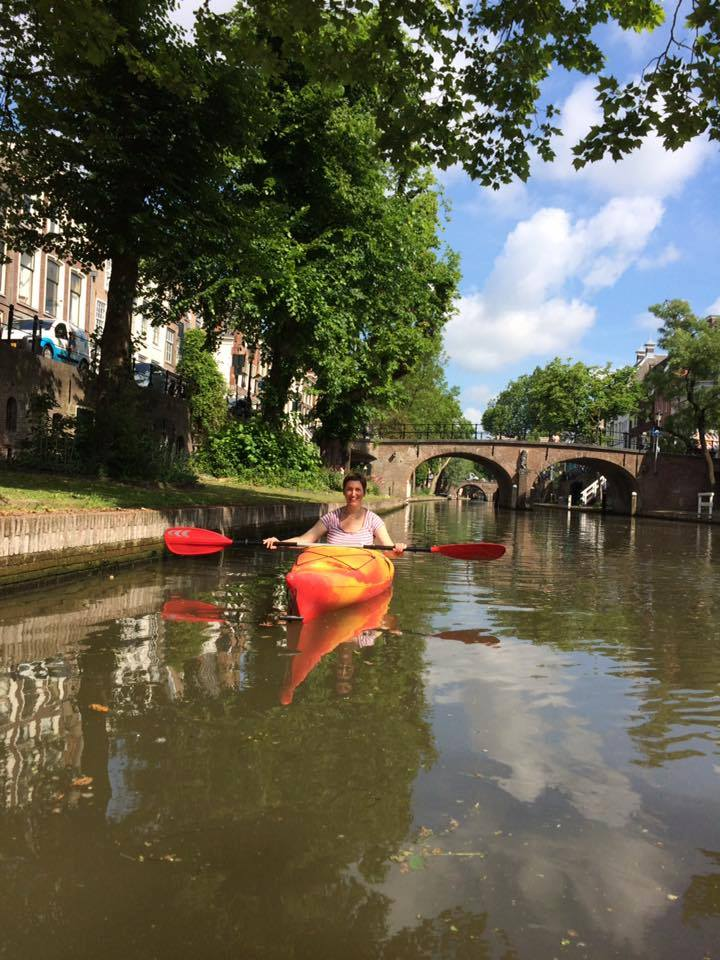 On the canal in a canoe.