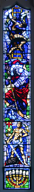 The first window on the right depicts Jacob, the patriarch who wrestled with an angel (top); Moses the mighty law-giver (middle); and David, the hero-king (bottom).
