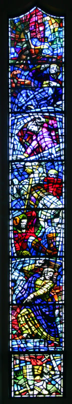 The third window on the right depicts Saint Paul making his famous speech to the people of Athens. His conversion is shown in the centre of the window.