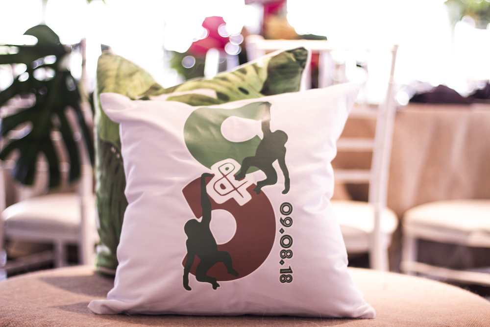 custom logo and pillow for amazon jungle themed mitzvah