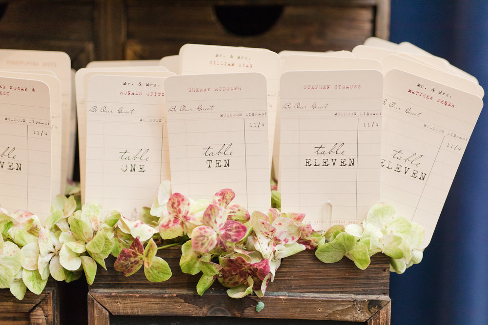 Library card placecards for library inspired fall wedding at Buona Sera Palazzo