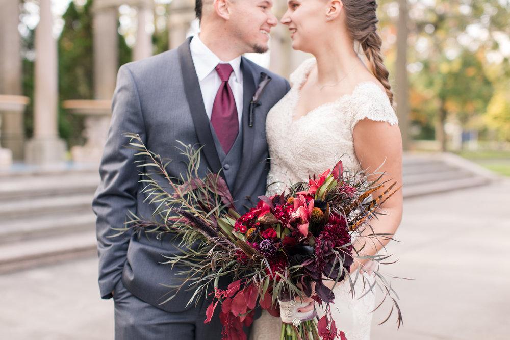 unique dark bridal bouquet at monmouth university wedding