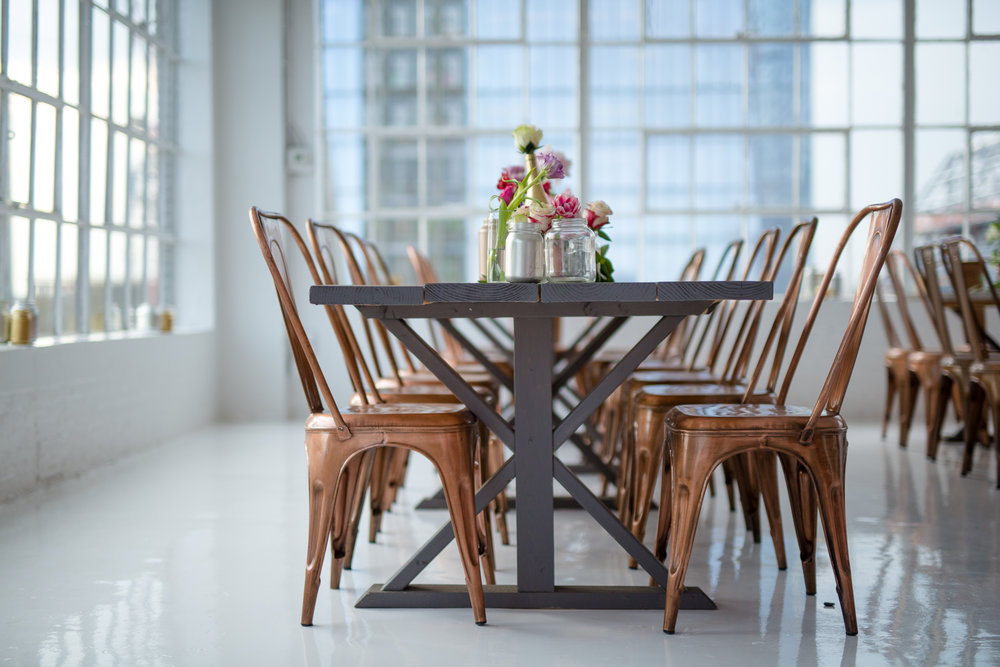 farmhouse table copper chairs nyc mitzvah
