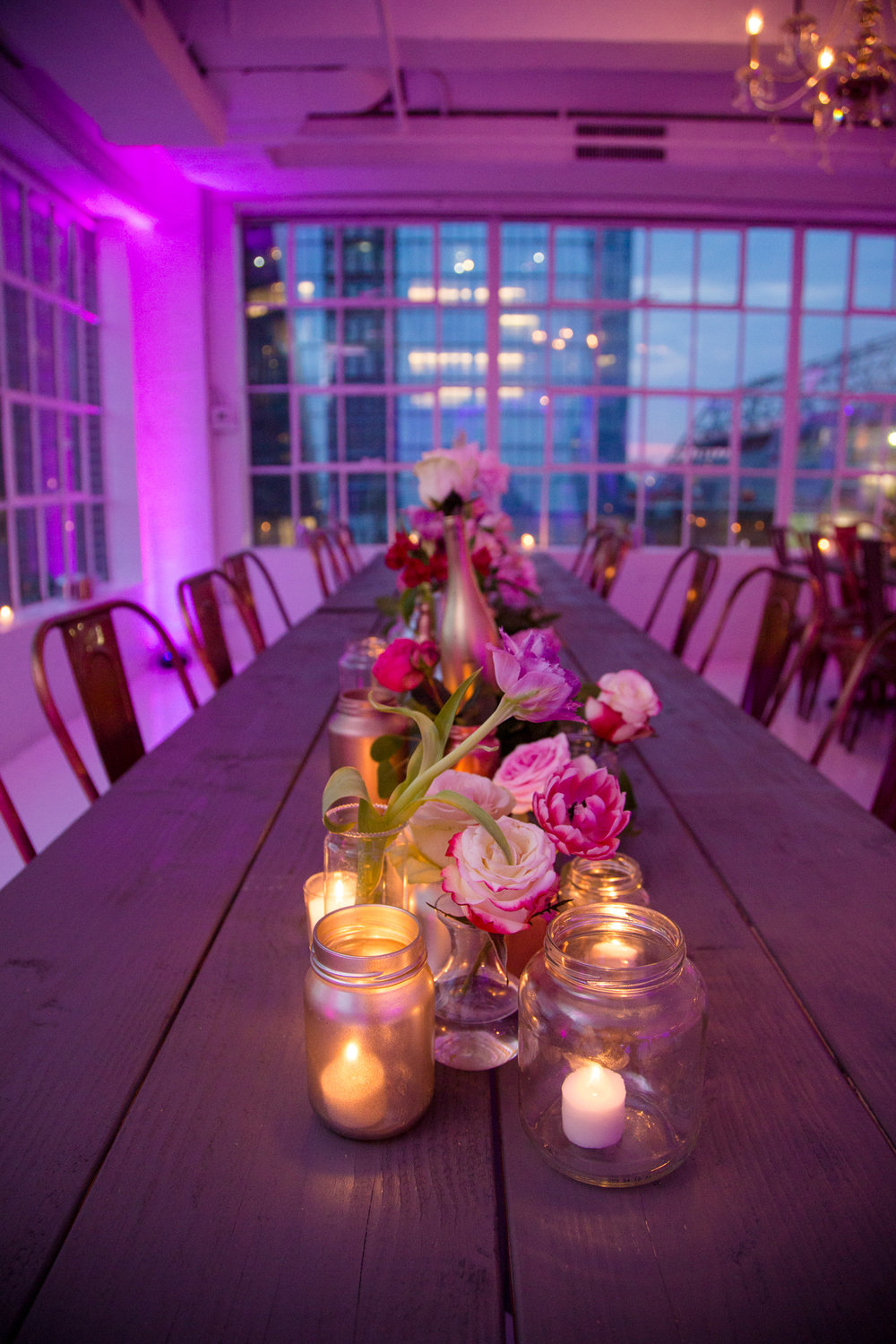 mitzvah centerpiece with flowers and candles