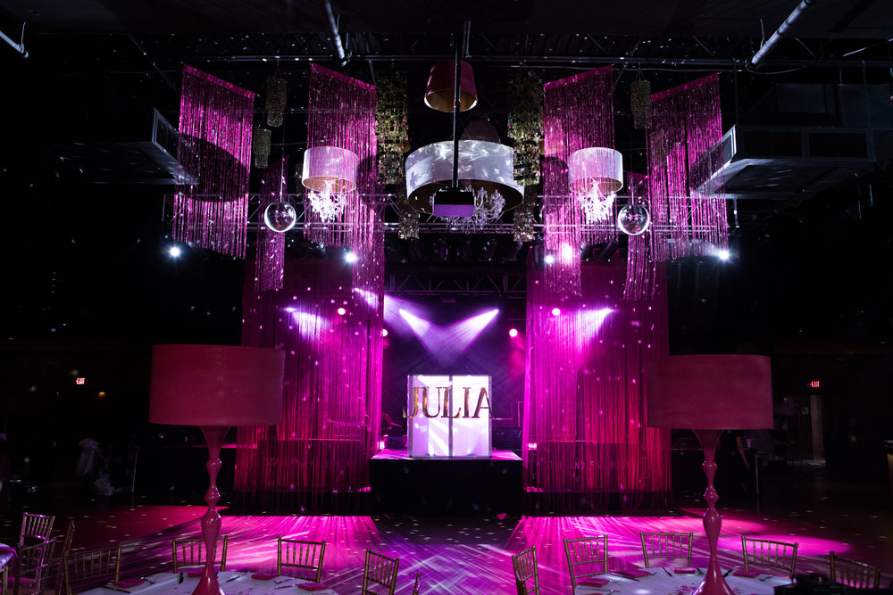 pink confetti inspired bat mitzvah