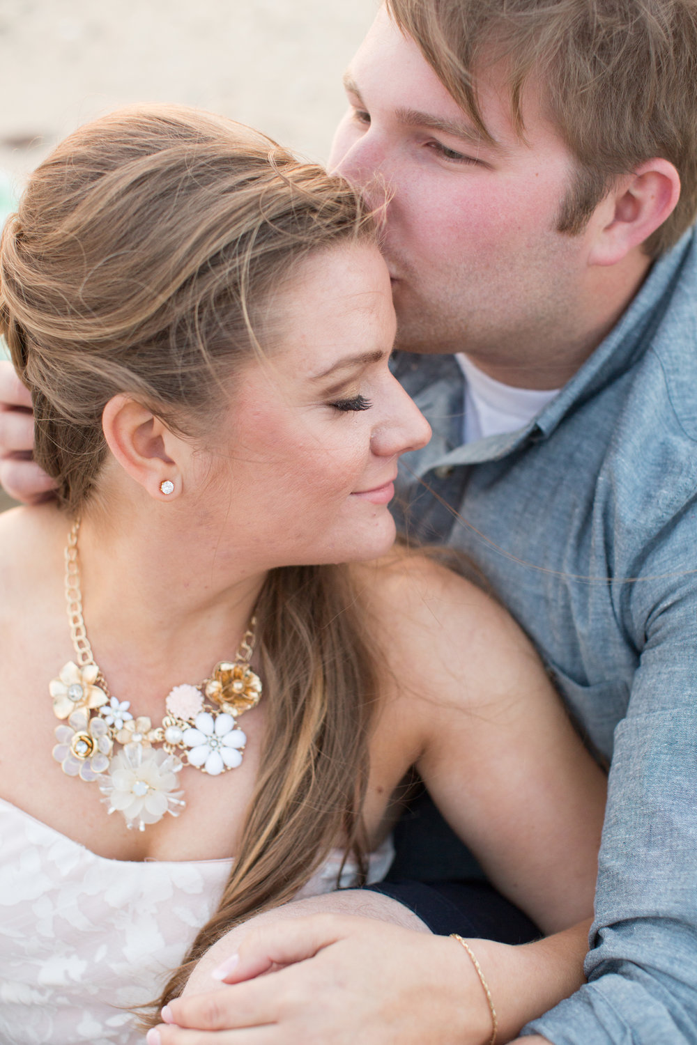 statement necklace at beach engagement session at sandy hook