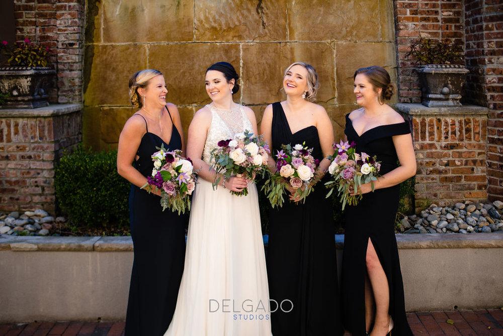 black bridesmaid dresses fall bouquets