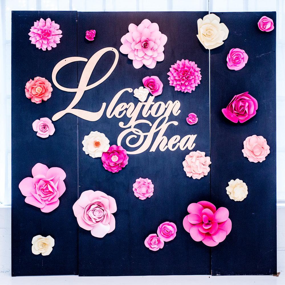 custom mitzvah floral photo backdrop