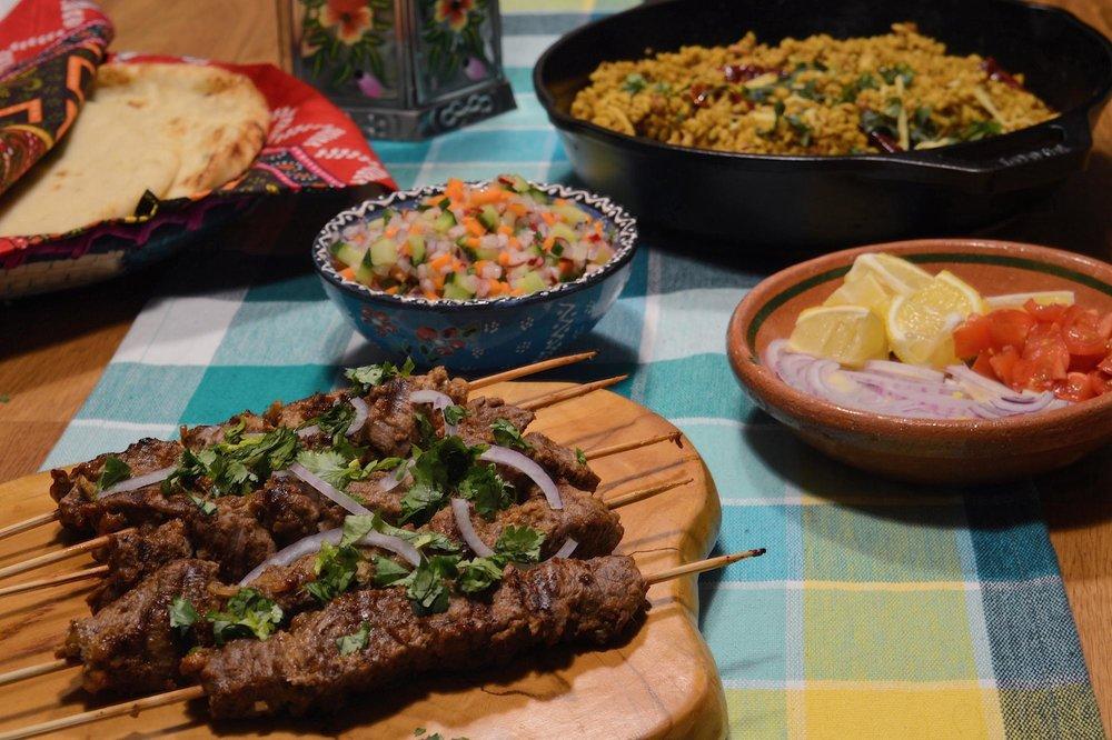 Bihari kebabs, kachumber salad, and maash daal (recipes from 'Summers Under The Tamarind Tree').