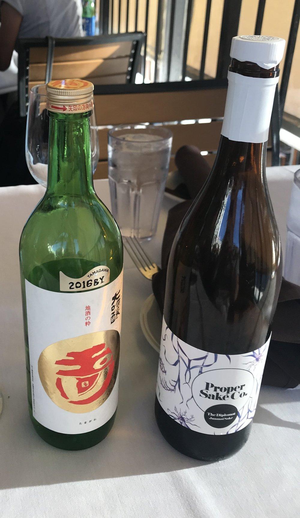 The author's sake from Nashville's Proper Sake Co., next to Philip Harper's sake.