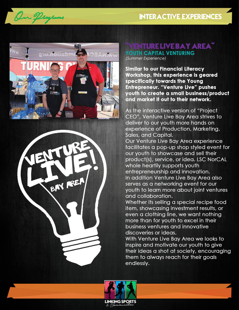 Venture Live - We give our youth entrepreneurs real life interactions with seasoned business owners and venture capitalist on how to start, fund and grow a business!!