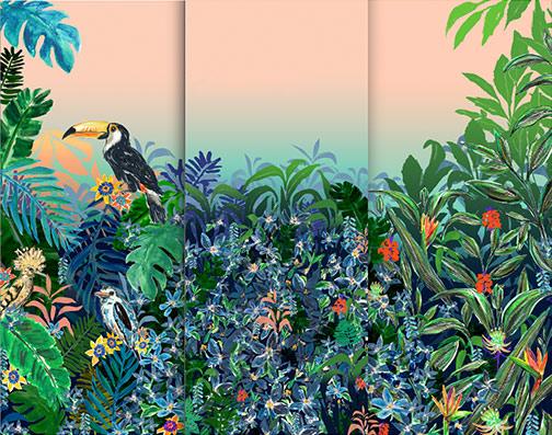 3 Panel Tropical Mural
