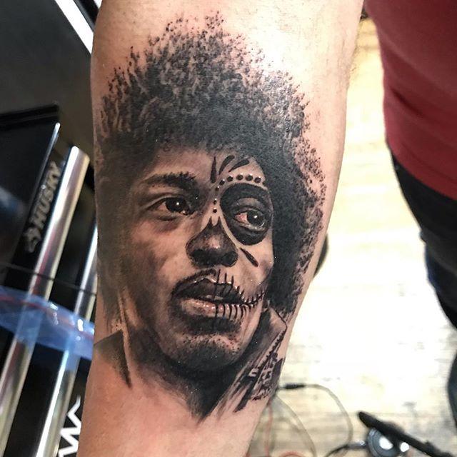 Jimmy Hendrix day of the dead!! Start of a full rock sleeve!!😀 #tattoo #jimhendrix #tattoosleeve #freshink