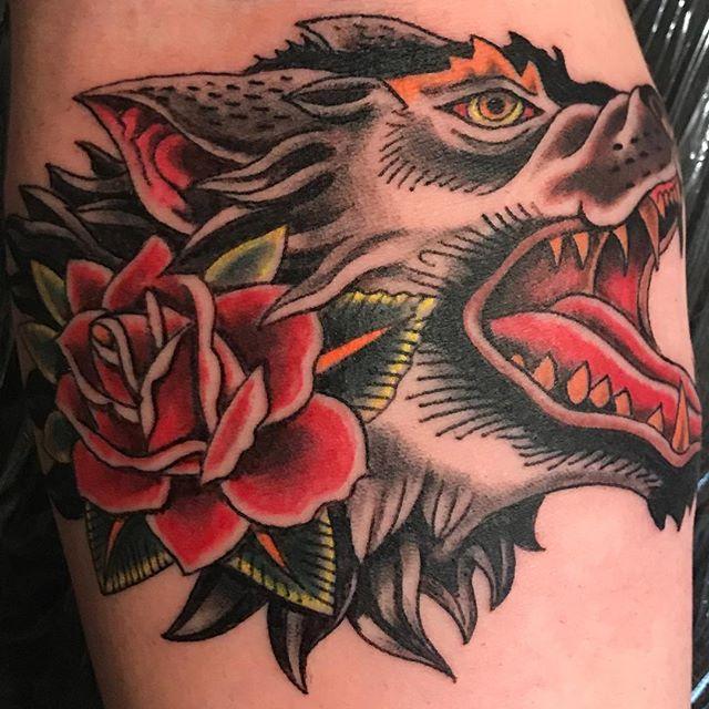 Traditional. #tattoo #tattoos #wolftattoo #torontotattoos #torontotattooartists #toronto #caledon #traditionaltattoo