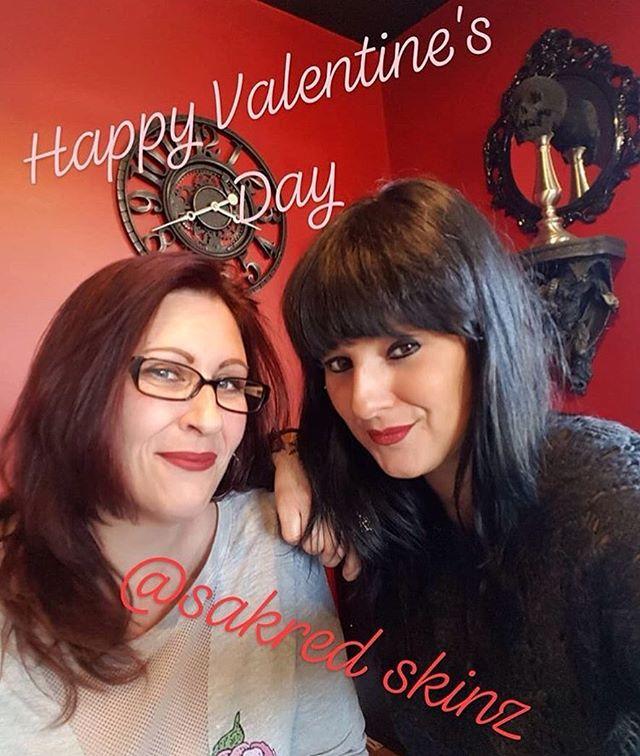 Happy Valentine's Day from the ladies (missing Christina! 😓) of Sakred Skinz! #sakredskinz @melliebones @moonlighttattoos
