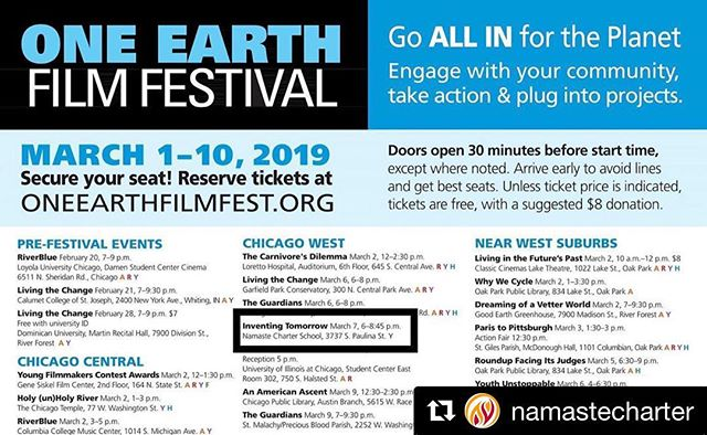 """#Repost @namastecharter ・・・ We're hosting a FREE film screening on Thursday, March 7th along with One Earth Film Festival to present """"Inventing Tomorrow"""" - an inspiring film about students around the globe creating the most cutting-edge solutions to confront the world's environmental threats - found in their own backyards. Join us from 6:30 PM-8:30 PM to watch the film along with our community and engage in a panel discussion with some of Chicago's community leaders advocating for environmental change and sustainability.  RSVP by following this link: https://bit.ly/2WPad4S  Doors open at 5:30PM. We hope to see you there! 🎥🍿🎟🌎 #oneearthfilmfestival #inventingtomorrowmovie #inventingtomorrow #environmentalism #sustainability #lovetheearth #wearenamaste #somosnamaste"""