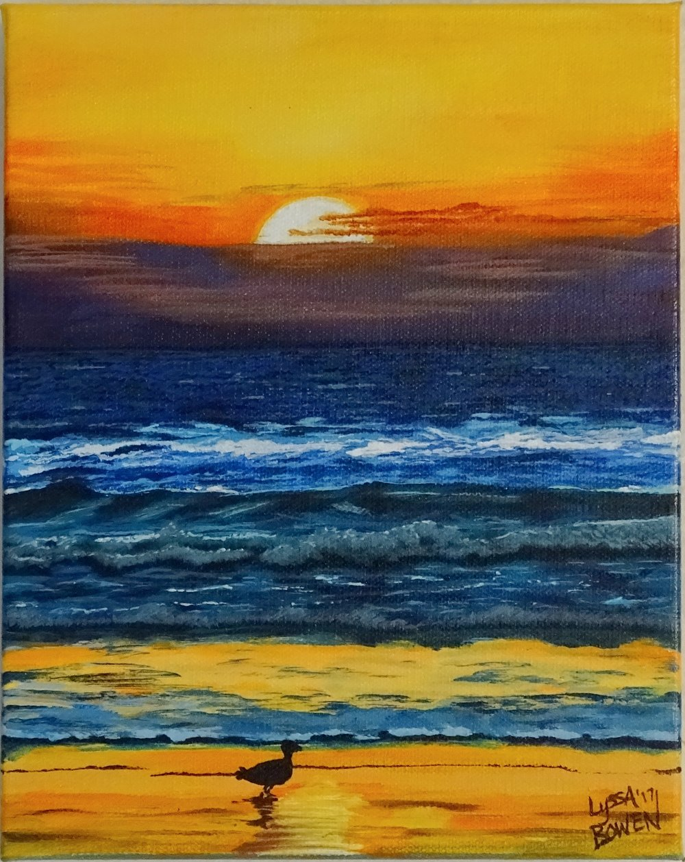 """Beach Sunset""  Acrylic on canvas"